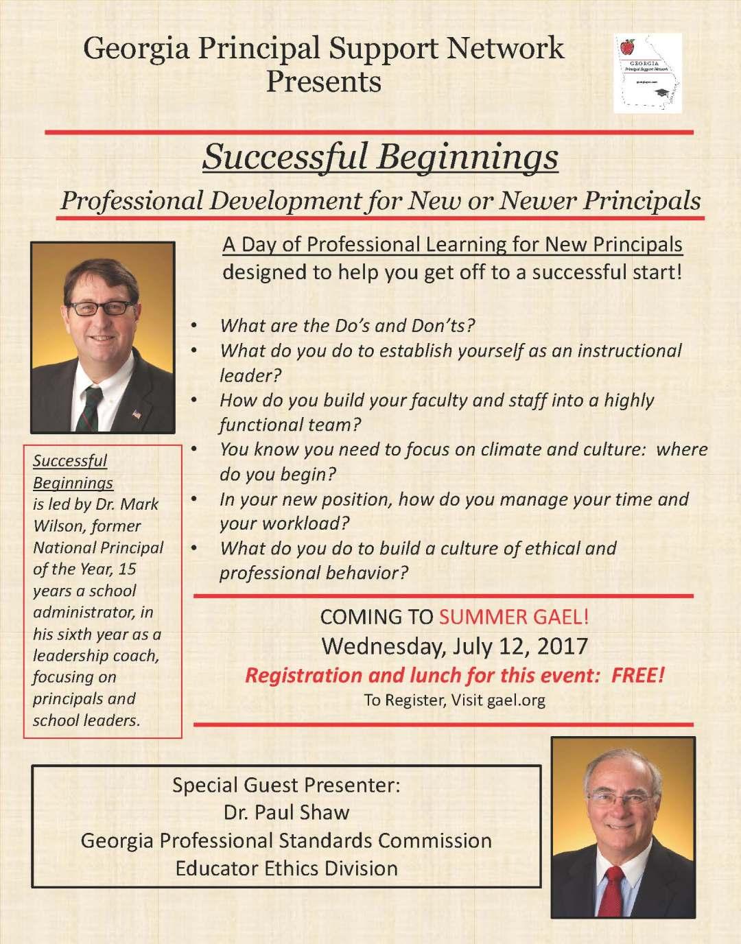 Successful Beginnings Summer GAEL 2017